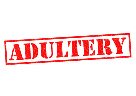 ADULTERY red Rubber Stamp over a white background.