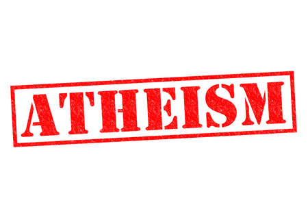 skeptical: ATHEISM red Rubber Stamp over a white background.