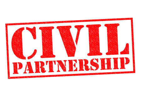civil partnership: CIVIL PARTNERSHIP red Rubber Stamp over a white background.