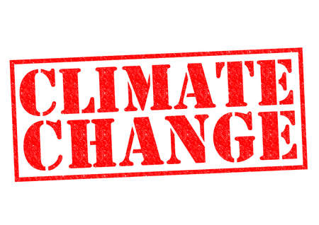 unsustainable: CLIMATE CHANGE red Rubber Stamp over a white background. Stock Photo