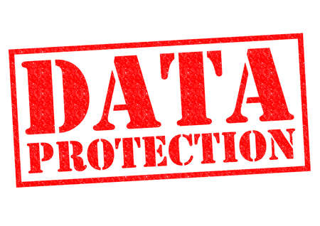 data protection act: DATA PROTECTION red Rubber Stamp over a white background. Stock Photo