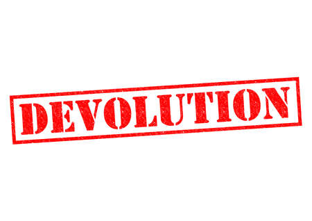 degeneration: DEVOLUTION red Rubber Stamp over a white background.