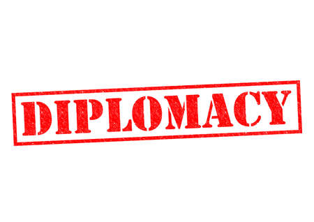 tact: DIPLOMACY red Rubber Stamp over a white background.