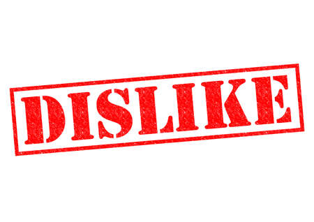 unsatisfied: DISLIKE red Rubber Stamp over a white background. Stock Photo