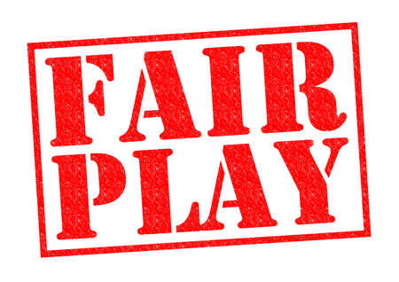 fair play: FAIR PLAY red Rubber Stamp over a white background. Stock Photo
