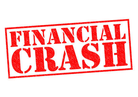 stock market crash: FINANCIAL CRASH red Rubber Stamp over a white background. Stock Photo