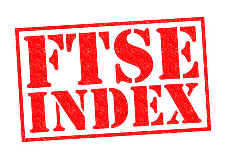 footsie: FTSE INDEX red Rubber Stamp over a white background. Stock Photo