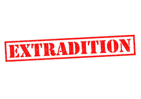 banish: EXTRADITION red Rubber Stamp over a white background. Stock Photo