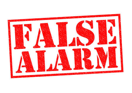 FALSE ALARM red Rubber Stamp over a white background.