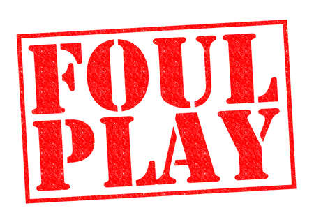 foul: FOUL PLAY red Rubber Stamp over a white background.