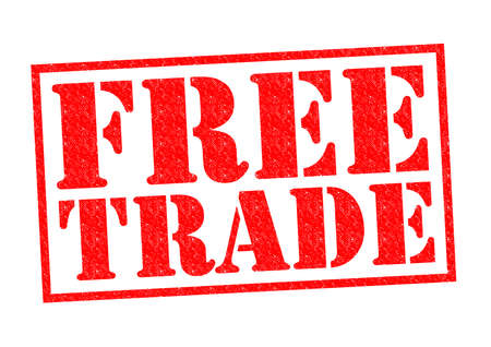 illegal trading: FREE TRADE red Rubber Stamp over a white background. Stock Photo