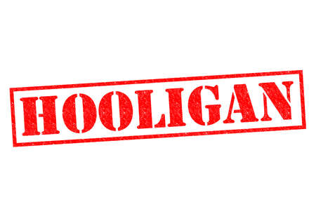 antisocial: HOOLIGAN red Rubber Stamp over a white background.