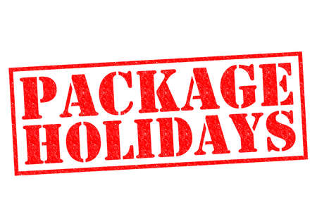 long weekend: PACKAGE HOLIDAYS red Rubber Stamp over a white background.