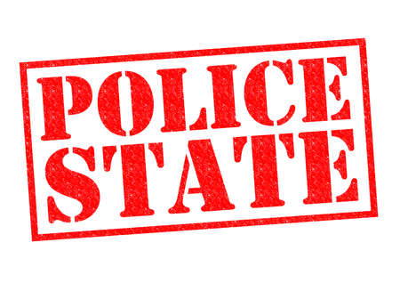 unfair rules: POLICE STATE red Rubber stamp over a white background.
