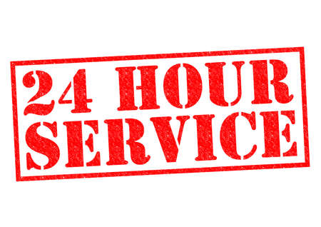phonecall: 24 HOUR SERVICE red Rubber Stamp over a white background.