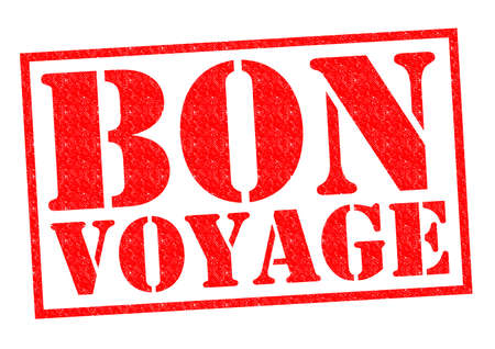 going away: BON VOYAGE red Rubber Stamp over a white background.