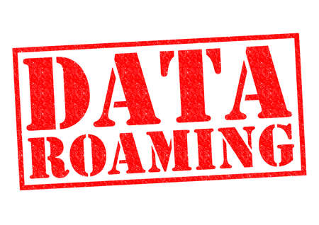 roaming: DATA ROAMING red Rubber Stamp over a white background.