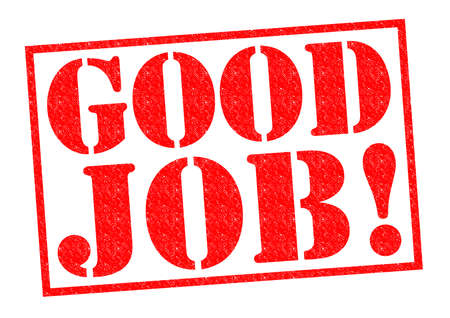 sone: GOOD JOB! red Rubber Stamp over a white background. Stock Photo