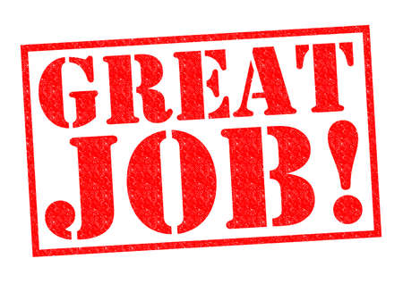 career job: GREAT JOB! red Rubber Stamp over a white background.