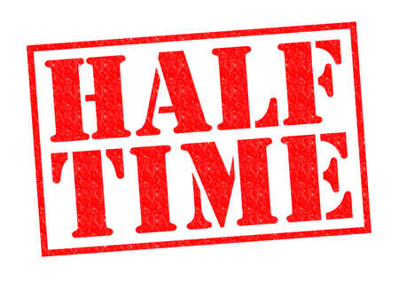 intermission: HALF TIME red Rubber Stamp over a white background. Stock Photo