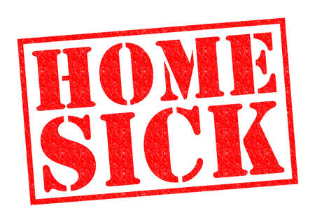coping: HOME SICK red Rubber Stamp over a white background.