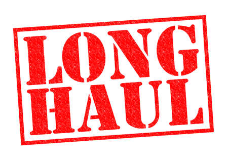 long haul journey: LONG HAUL red Rubber Stamp over a white background.