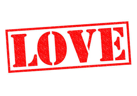 yearning: LOVE red Rubber Stamp over a white background. Stock Photo