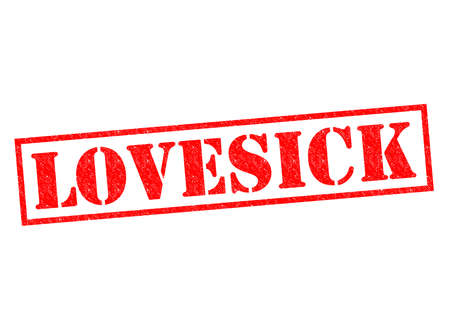 lovelorn: LOVESICK red Rubber Stamp over a white background.