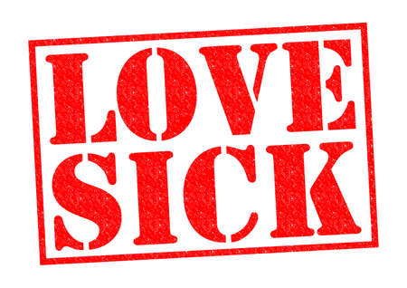 LOVE SICK red Rubber Stamp over a white background.