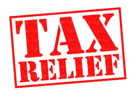reduced value: TAX RELIEF red Rubber Stamp over a white background.
