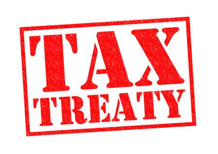 treaty: TAX TREATY red Rubber Stamp over a white background.