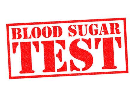 BLOEDSUIKER TEST rode Rubber Stamp over een witte achtergrond. Stockfoto