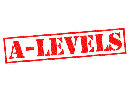 A-LEVELS red Rubber Stamp over a white background. Stock Photo