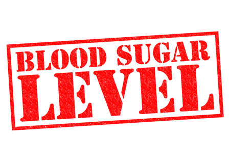血糖値のレベルの赤いスタンプ、白い背景の上。