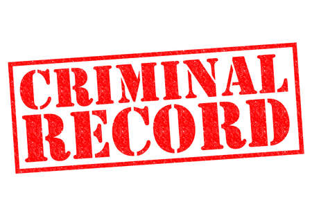 record breaking: CRIMINAL RECORD red Rubber Stamp over a white background. Stock Photo