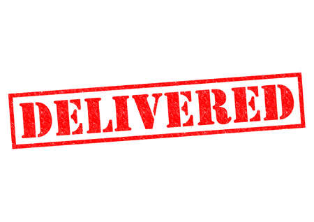 transported: DELIVERED red Rubber Stamp over a white background. Stock Photo