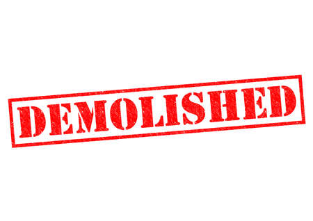 bulldoze: DEMOLISHED red Rubber Stamp over a white background. Stock Photo