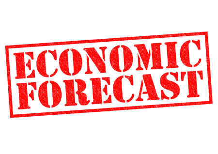 economic forecast: ECONOMIC FORECAST red Rubber Stamp over a white background. Stock Photo