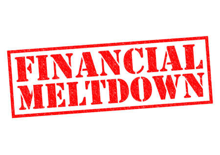 budgetary: FINANCIAL MELTDOWN red Rubber Stamp over a white background.