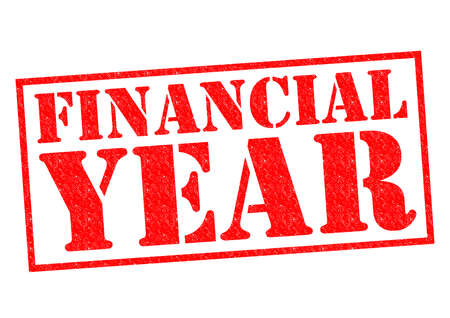 financial year: FINANCIAL YEAR red Rubber Stamp over a white background. Stock Photo