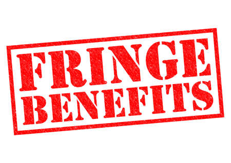 fringe: FRINGE BENEFITS red Rubber Stamp over a white background.