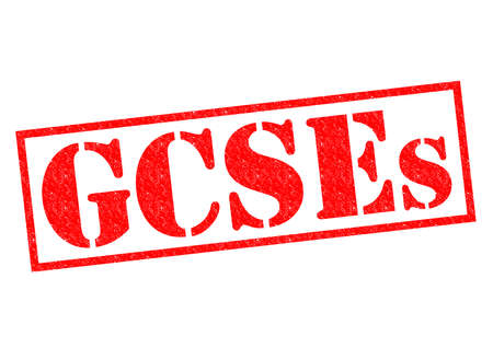 coursework: GCSEs red Rubber Stamp over a white background.
