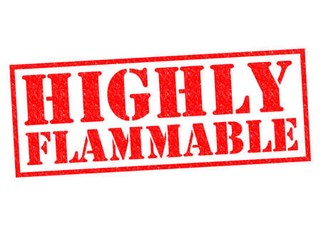 burnable: HIGHLY FLAMMABLE red Rubber Stamp over a white background.