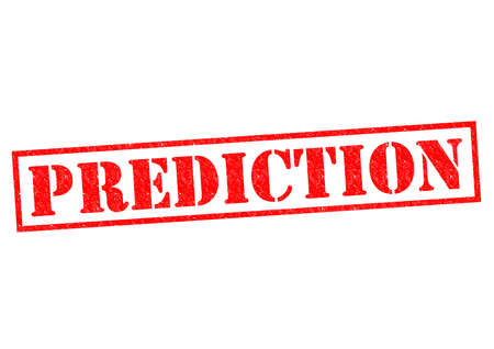 PREDICTION red rubber Stamp over a white background.