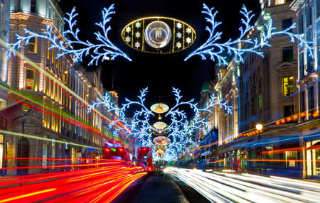 traffic lights: The beautiful Regent Street Christmas Lights in London.