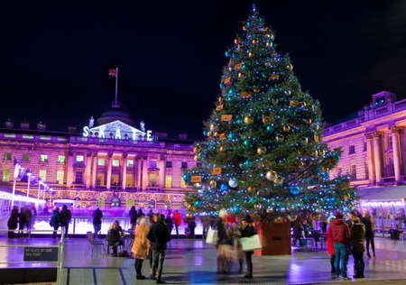 ice rink: The beautiful Somerset House in London during Christmastime.