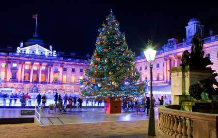 somerset: The beautiful Somerset House in London during Christmastime.