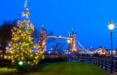 lights: A beautiful view of Tower Bridge in London during Christmastime.