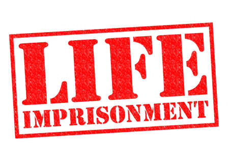 confinement: LIFE IMPRISONMENT red Rubber stamp over a white background. Stock Photo