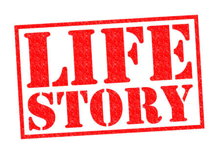 tell stories: LIFE STORY red Rubber Stamp over a white background.